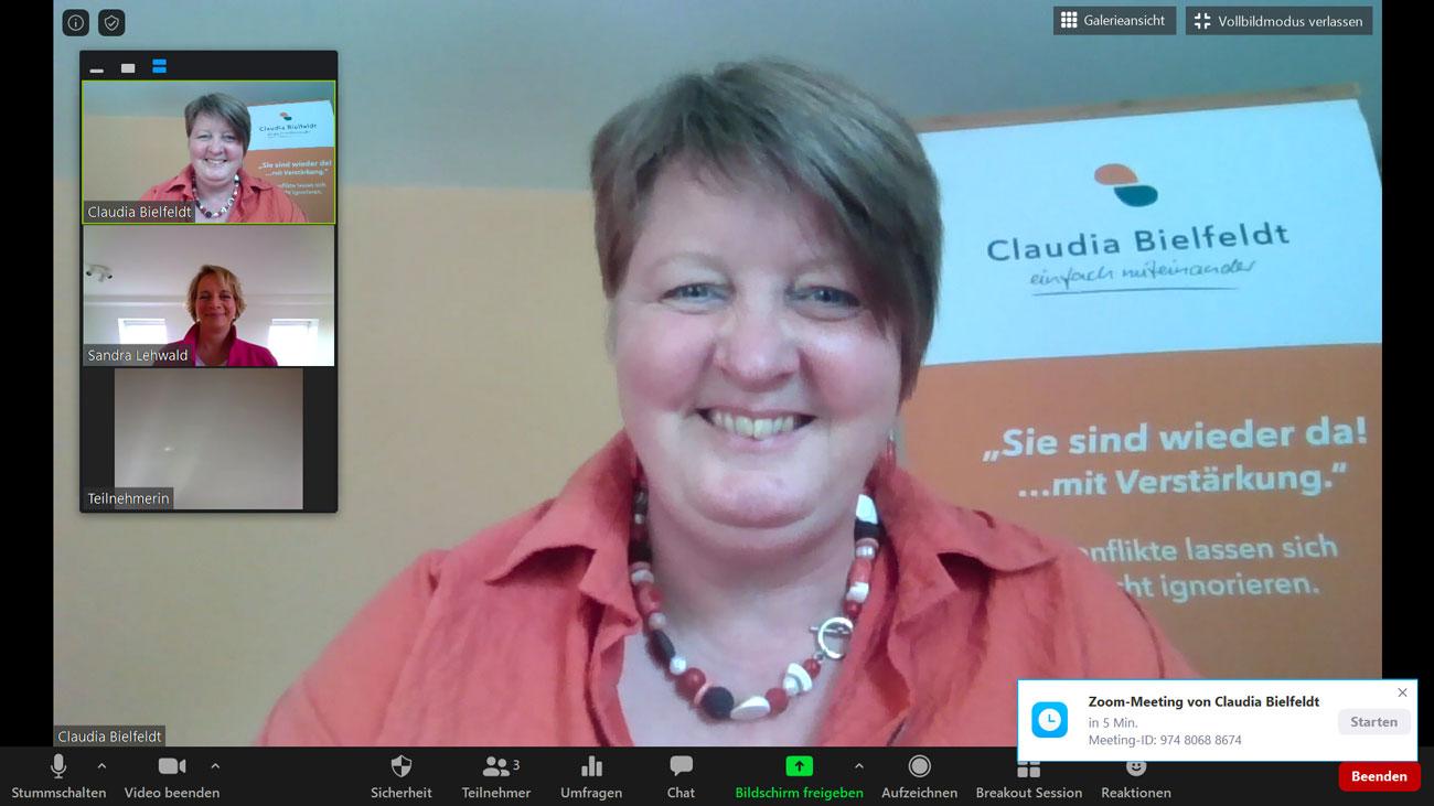 Zoom-Meeting mit Claudia Bielfeldt und Sandra Lehwald